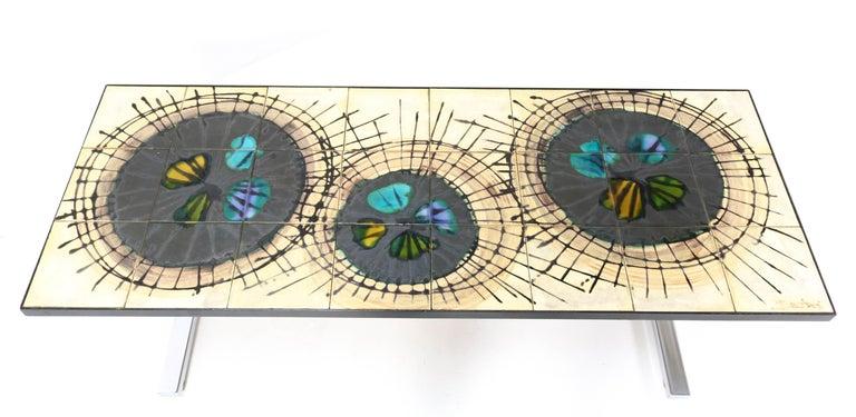 Belgium Mid-Century Modern Ceramic Coffee Table by Juliette Belarti, 1960s For Sale 6
