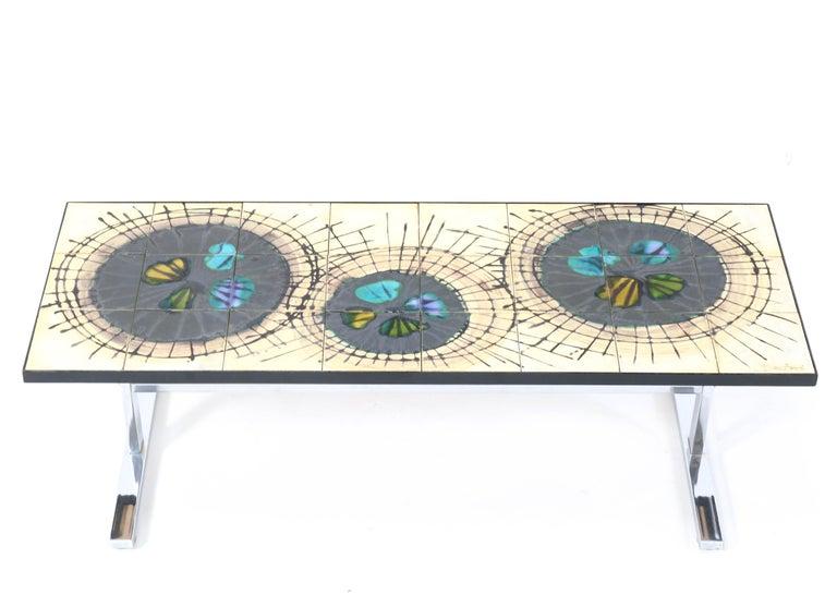 Belgian Belgium Mid-Century Modern Ceramic Coffee Table by Juliette Belarti, 1960s For Sale