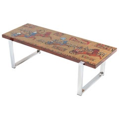 Belgium Mid-Century Modern Coffee Table with Tiles by Denisco, 1960s
