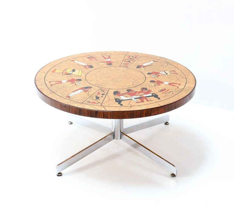 Belgian Belgium Mid-Century Modern Coffee Table with Tiles by Denisco, 1970s For Sale