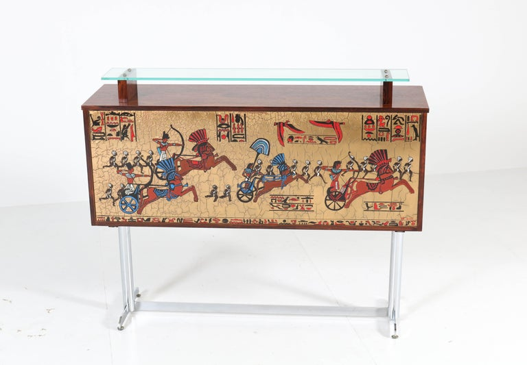 Belgian Belgium Mid-Century Modern Rosewood and Chrome Dry Bar by Denisco, 1960s For Sale