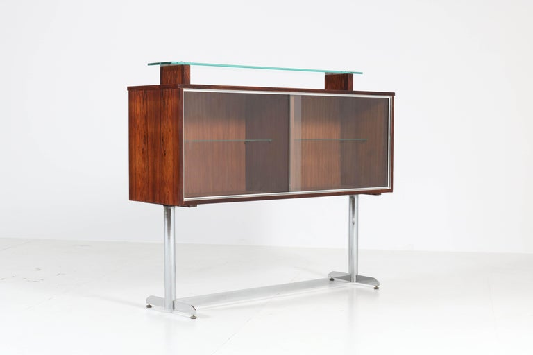 Belgium Mid-Century Modern Rosewood and Chrome Dry Bar by Denisco, 1960s In Good Condition For Sale In Amsterdam, NL