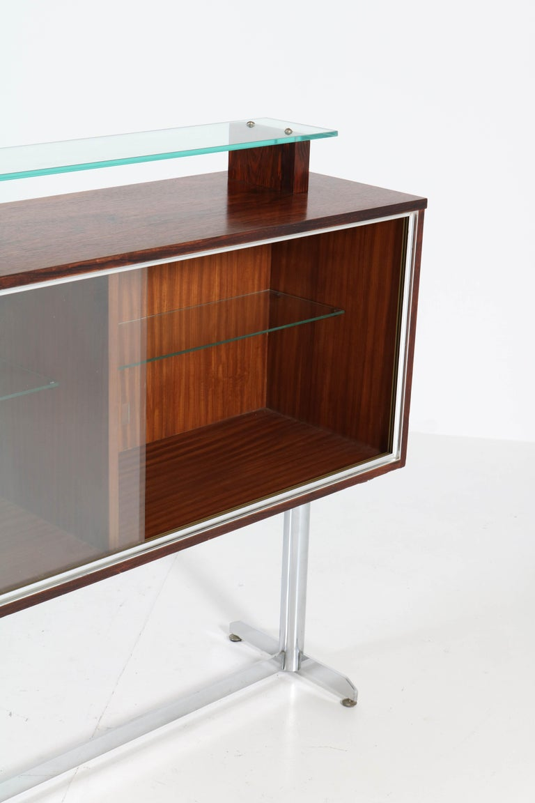 Mid-20th Century Belgium Mid-Century Modern Rosewood and Chrome Dry Bar by Denisco, 1960s For Sale
