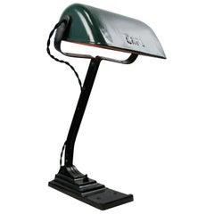 Belgium Petrol Green Enamel Vintage Industrial Work Light Table Desk Light