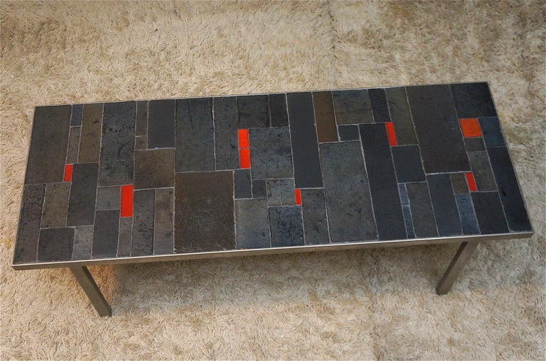 Belgium tile top and iron coffee table by Pia Manu, 1960.