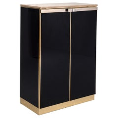 Belgo Chrom Brass and Lacquer High-Board with Travertine Top
