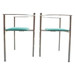 Belgo Chrom Chairs Steel Design Memphis Style, 1980s