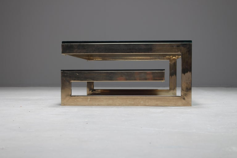 Belgian Belgo Chrome 23-Carat Gold-Plated G-Shaped Coffee Table, circa 1970s For Sale