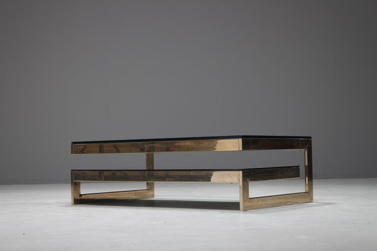 Metal Belgo Chrome 23-Carat Gold-Plated G-Shaped Coffee Table, circa 1970s For Sale
