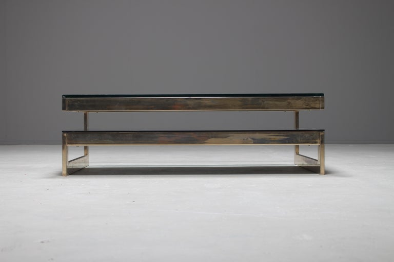 Belgo Chrome 23-Carat Gold-Plated G-Shaped Coffee Table, circa 1970s For Sale 1