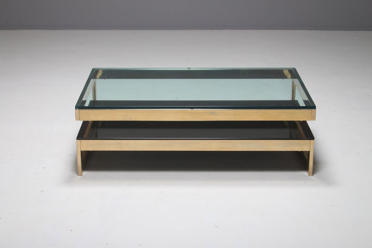 Belgo Chrome 23-Carat Gold-Plated G-Shaped Coffee Table, circa 1970s For Sale 2