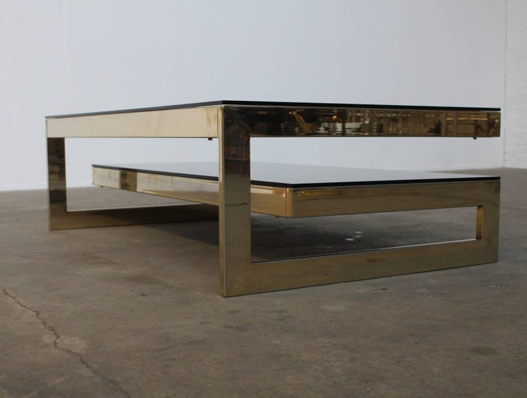 Mid-Century Modern Belgo Chrome Architectural G-Shaped 23 Carat Gold-Plated Two-Tier Coffee Table For Sale