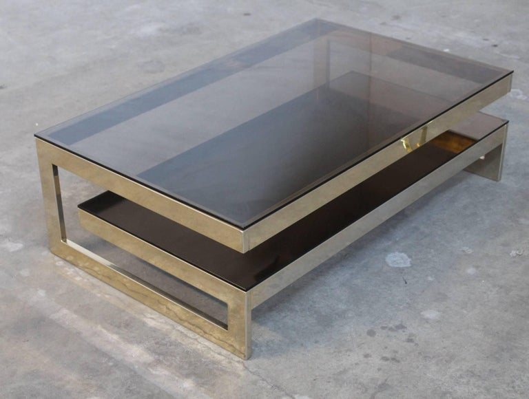 Belgo Chrome Architectural G-Shaped 23 Carat Gold-Plated Two-Tier Coffee Table In Good Condition For Sale In Amsterdam, NL