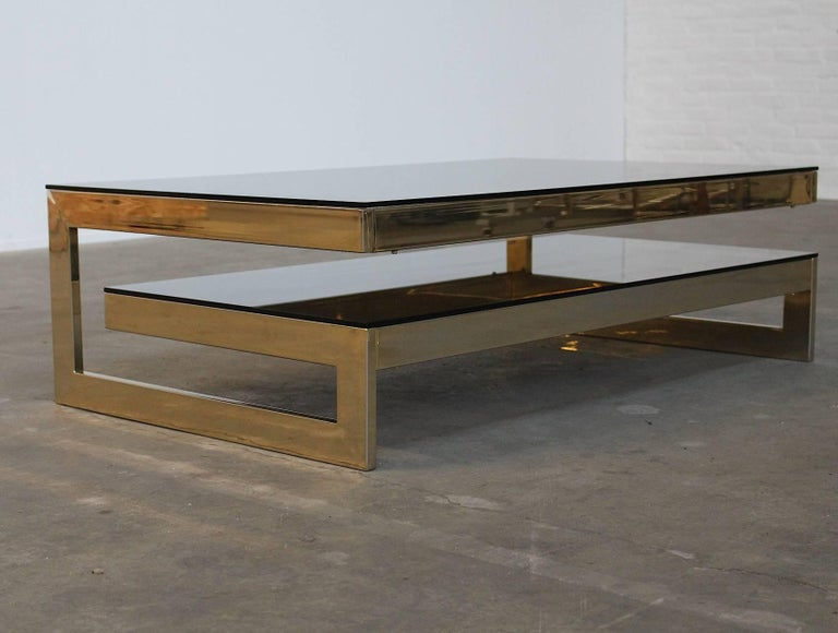 Late 20th Century Belgo Chrome Architectural G-Shaped 23 Carat Gold-Plated Two-Tier Coffee Table For Sale