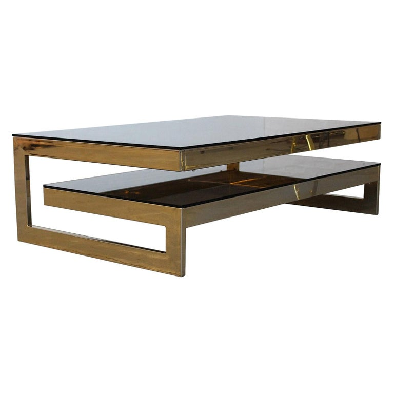 Belgo Chrome Architectural G-Shaped 23 Carat Gold-Plated Two-Tier Coffee Table For Sale