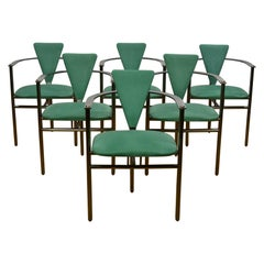 Belgo Chrome Armchairs Green Alcantara and Steel, Set of 6, Belgium, 1970s