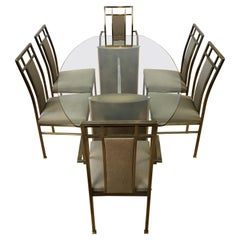 Belgo Chrome Dining Room Set, Glass Table with 6 Chairs