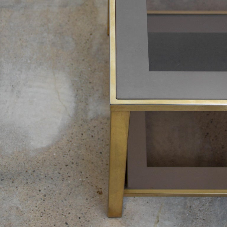 Hollywood Regency Belgo Chrome Gold-Plated Vintage Side Table With Shelf, 1980s