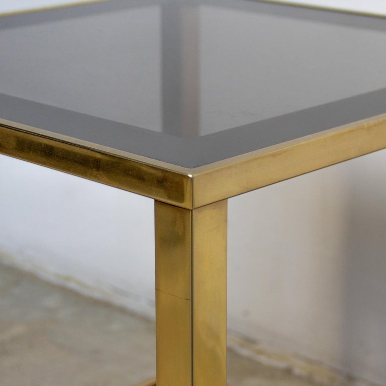 Belgian Belgo Chrome Gold-Plated Vintage Side Table With Shelf, 1980s