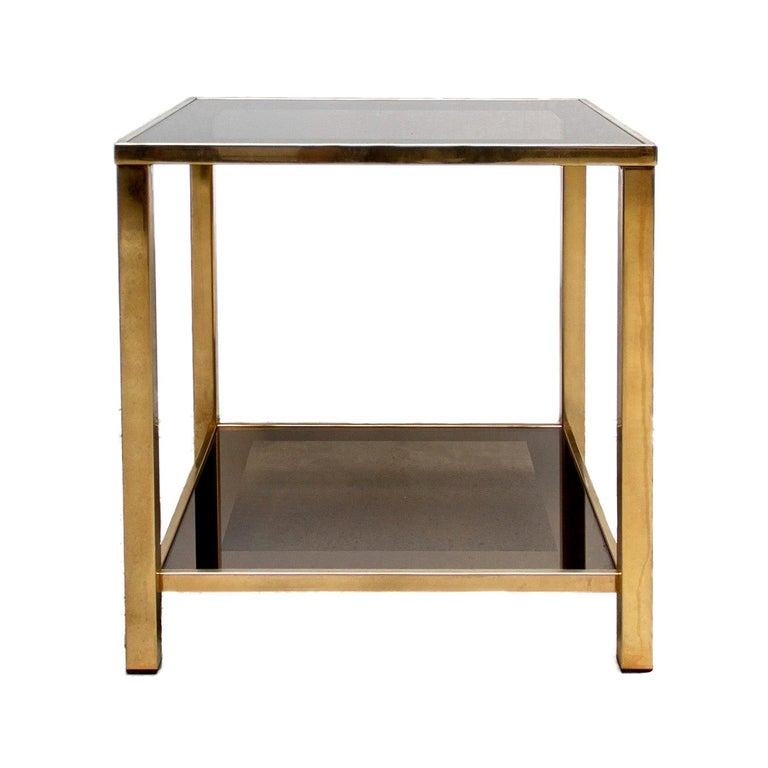 Belgo Chrome Gold-Plated Vintage Side Table With Shelf, 1980s