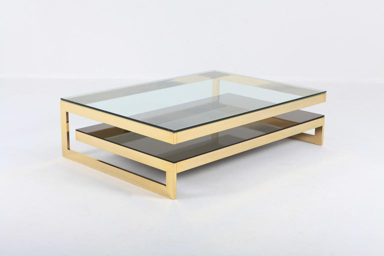 Hollywood Regency Belgo Chrome Golden G Coffee Table Extra Large For Sale
