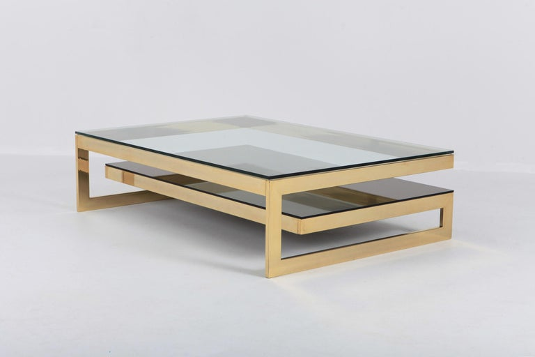 Late 20th Century Belgo Chrome Golden G Coffee Table Extra Large For Sale