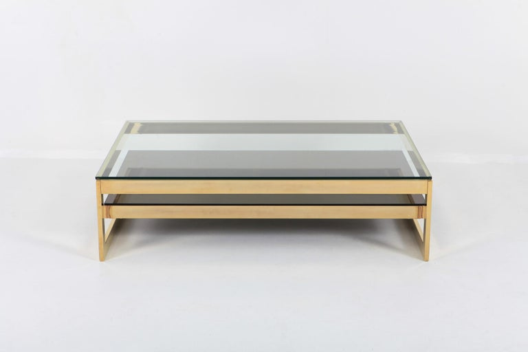 Brass Belgo Chrome Golden G Coffee Table Extra Large For Sale