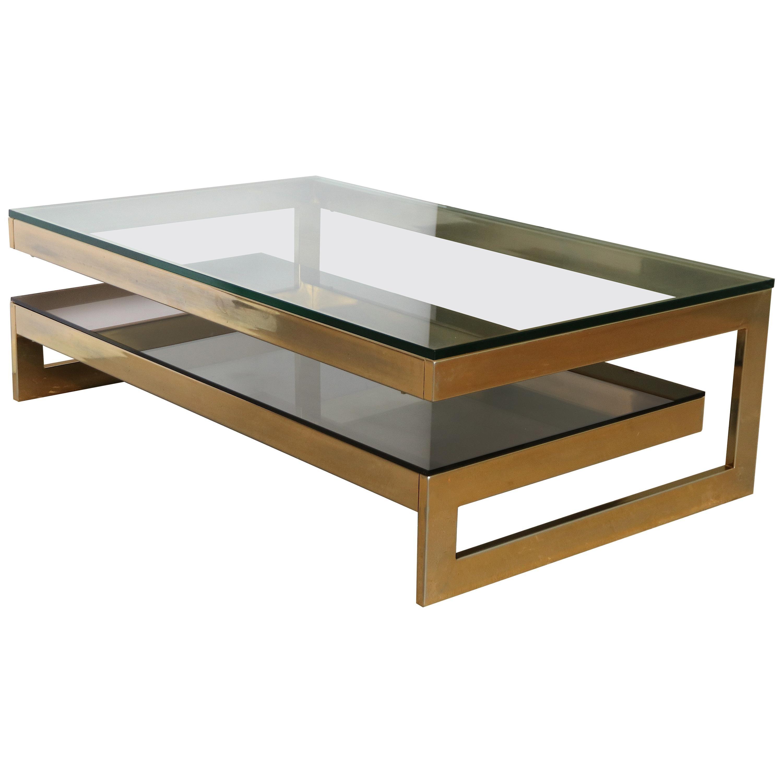 Belgo Chrome Maison Jansen Style 23 Carat Gold-Plated Coffee Table