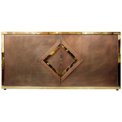 Belgo Chrome Side Board in Stainless Steel and Brass, 1970s