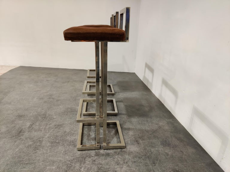 Belgochrom Chrome Bar Stools, Set of 3, 1970s In Good Condition In Neervelp, BE