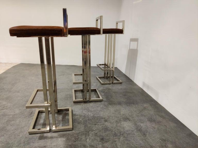 Late 20th Century Belgochrom Chrome Bar Stools, Set of 3, 1970s