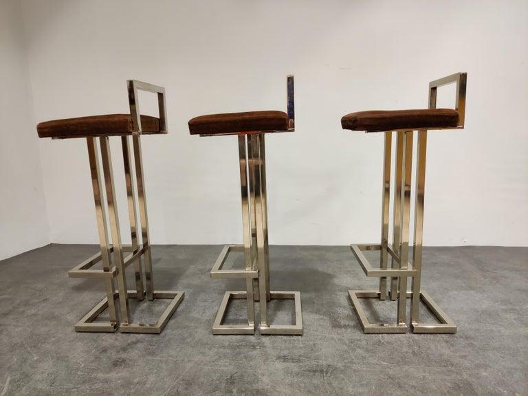 Suede Belgochrom Chrome Bar Stools, Set of 3, 1970s