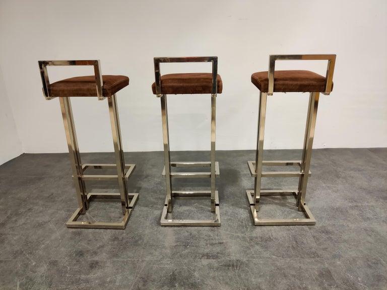 Belgochrom Chrome Bar Stools, Set of 3, 1970s 1