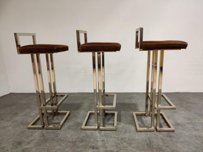 Belgochrom Chrome Bar Stools, Set of 3, 1970s 2
