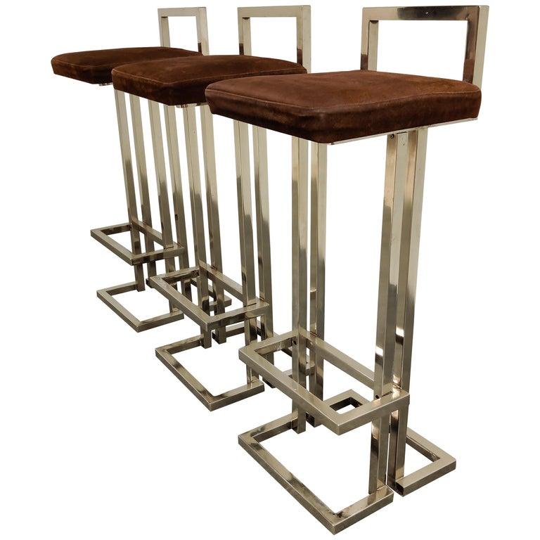 Belgochrom Chrome Bar Stools, Set of 3, 1970s