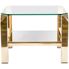 Belgochrom Side Table, 23-Carat Gold-Plated, 1970s