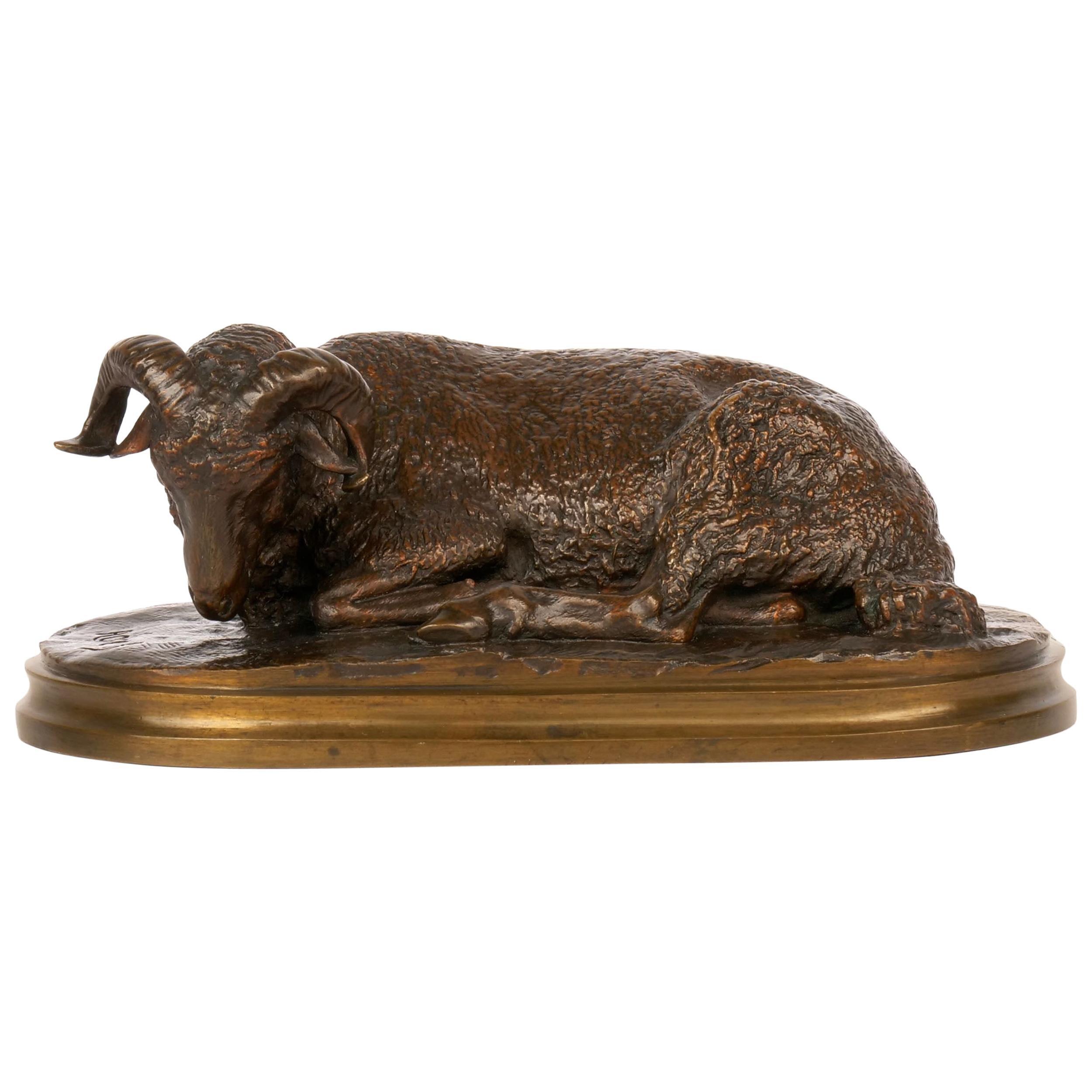 """""""Belier Couché"""" Antique French Bronze Sculpture by Rosa Bonheur & Peyrol"""