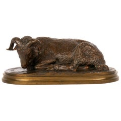"""Belier Couché"" Antique French Bronze Sculpture by Rosa Bonheur & Peyrol"