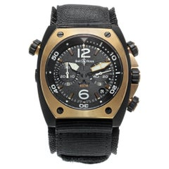 Bell and Ross Marine Matte PVD Black Steel Automatic Mens Watch BR02-CHR-BICOLOR