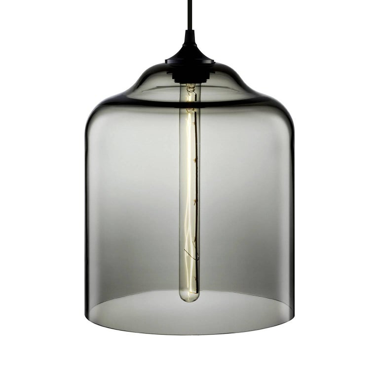 American Bell Jar Amber Handblown Modern Glass Pendant Light, Made in the USA For Sale