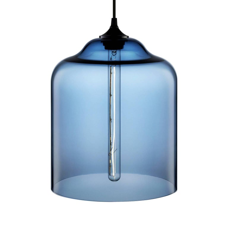 Bell Jar Amber Handblown Modern Glass Pendant Light, Made in the USA In New Condition For Sale In Beacon, NY