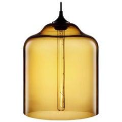 Bell Jar Amber Handblown Modern Glass Pendant Light, Made in the USA