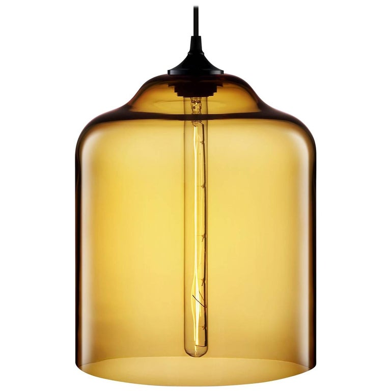 Bell Jar Amber Handblown Modern Glass Pendant Light, Made in the USA For Sale