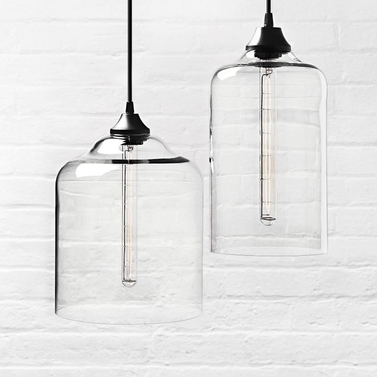 Bell Jar Crystal Handblown Modern Glass Pendant Light, Made in the USA For Sale 1