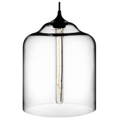 Bell Jar Crystal Handblown Modern Glass Pendant Light, Made in the USA