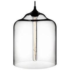 Bell Jar Crystal Handblown Modern Glass Pendant Light, Made in the USA