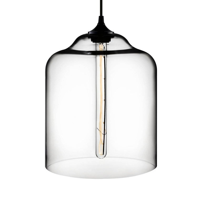 American Bell Jar Gray Handblown Modern Glass Pendant Light, Made in the USA For Sale