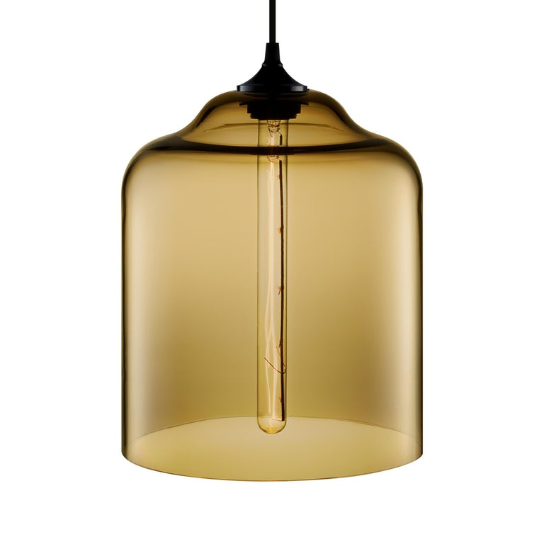 Contemporary Bell Jar Gray Handblown Modern Glass Pendant Light, Made in the USA For Sale