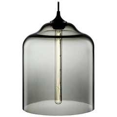 Bell Jar Gray Handblown Modern Glass Pendant Light, Made in the USA