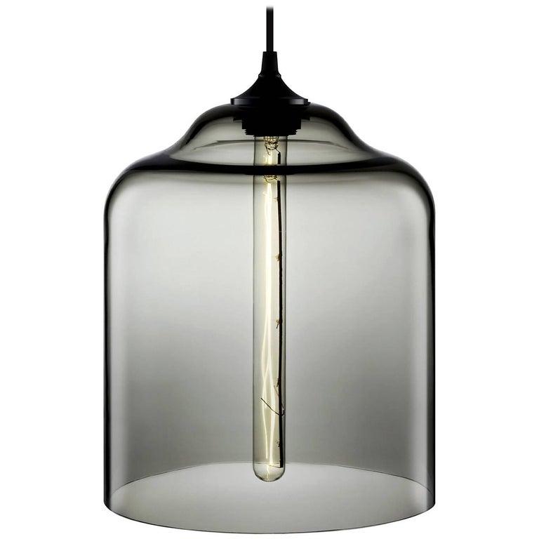 Bell Jar Gray Handblown Modern Glass Pendant Light, Made in the USA For Sale